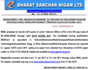 bsnl-2510-jto-recruitment-through-gate-2017